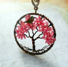 Pearl Black Bird Tree of Life Necklace by CandiSuesCreations, $34.00
