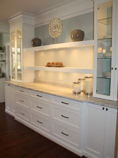 Elegant White Shaker Kitchen Cabinets - Built-in Buffet Design Ideas, Pictures, Remodel, and Decor – page 7 - White Shaker Kitchen Cabinets, Rta Kitchen Cabinets, Built In Cabinets, Dining Room Cabinets, Kitchen Buffet Cabinet, Dark Cabinets, Kitchen Countertops, Dining Cabinet, Kitchen Furniture