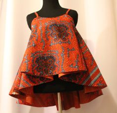 African Fabric Spaghetti Strapped Blouse by AnsabasEtem on Etsy