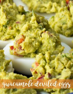 Guacamole Deviled Eggs Recipe by Tasty Avocado Recipes, Egg Recipes, Appetizer Recipes, Real Food Recipes, Cooking Recipes, Yummy Food, Meatless Recipes, Potato Recipes, Vegetable Recipes