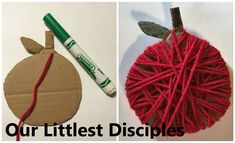Adam and Eve apple yarn art craft activity Five simple activities to teach the Bible stories Genesis 3:14-24