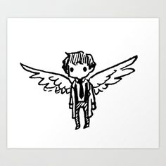 Teeny Tiny Castiel Art Print by Dr Teuthida Supernatural Drawings, Supernatural Tumblr, Supernatural Tattoo, Supernatural Imagines, Supernatural Wallpaper, Castiel, Drawing S, Art Drawings, Supernatural Bloopers