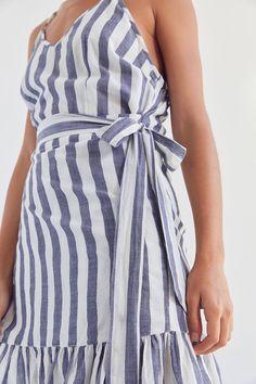 vetiver striped wrap dress