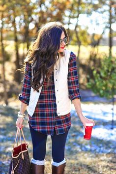 Emily cut up shirts, fall winter outfits, winter flannel outfits, winter cl Fall Outfits For Work, Cute Fall Outfits, Fall Winter Outfits, Autumn Winter Fashion, Winter Vest, Christmas Outfits, Cozy Winter, Plaid Christmas, Winter Holiday