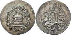 https://flic.kr/p/dq2hNA | A Magnificent Greek Silver Cistophoric Tetradrachm of Pergamon (Mysia), the Finest Example Known of this Mysterious Issue | Mysie Pergame. Cistophore vers 180-133 av. J.-C. 12,74g. Ciste mystique, le couvercle entrouvert d'où s'échappe un serpent; sur le pourtour, une couronne de lierre et de corymbes / Gorythe avec arc entre deux serpents entrelacés; dans le champ gauche, un monogramme. Kleiner, Serie 11a; SNG France 5, 1707. Le plus bel exemplaire connu de…