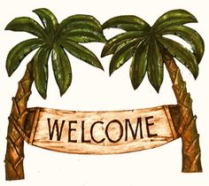 Palm Tree Decor Welcome Tropical Sign
