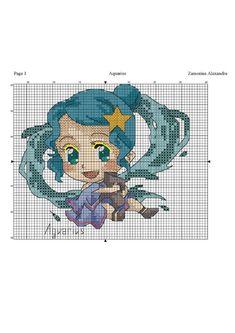 Chibi, Aquarius Zodiac, Mason Jar Crafts, Big Eyes, Cross Stitching, Pixel Art, Cross Stitch Patterns, Kids Rugs, Cartoon