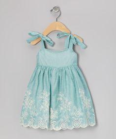 Blue Floral Embroidered Eyelet Dress - Infant & Toddler | Daily deals for moms, babies and kids