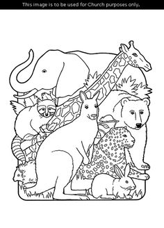 A Black And White Illustration Of The Creation Animals Including An Elephant Coloring PagesBible