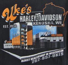 Ukes Harley Davidson T-shirt Mens Large Kenosha Wi Oldest Dealership 100 Years #HarleyDavidson #GraphicTee