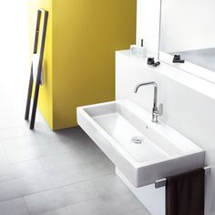 The high Metris lavatory faucet from Hansgrohe offers extensive freedom of movement for hand washing. Hansgrohe calls this ComfortZone. Lavatory Faucet, Basin Mixer, Dream Bathrooms, Hand Washing, Plumbing, Sink, Chrome, Hardware, Home Decor