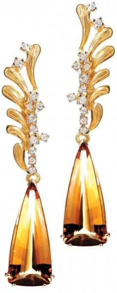 Miss Millionairess & Co / karen cox : Citrine/diamond earrings by Bruner
