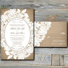 Burlap and Lace Wedding Invitation Suite with RSVP Cards - Printable Wedding Invitation - Customized Digital Files - DIY Wedding