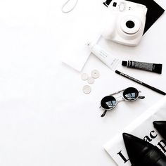 black and white flatlay.
