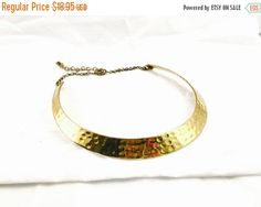 ON SALE NOW Gold Collar Necklace Vintage hammered Brass  Choker Retro Boho Collar Necklace bib Necklace