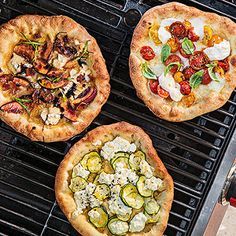 grilled pizza three ways. @Anne LaCoss these are rachel ray!