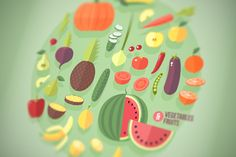 Fruits and vegetables flat icons set by painterr on Creative Market