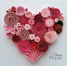 Quilled heart, quilling red rose heart, love quilling, quilled Ladybug, quilling by Tihana Poljak (Diy Paper Hearts) - - Quilled Paper Art, Paper Quilling Designs, Quilling Paper Craft, Paper Crafting, Quilling Ideas, Quilling Images, Paper Quilling Tutorial, Paper Paper, Valentines Bricolage