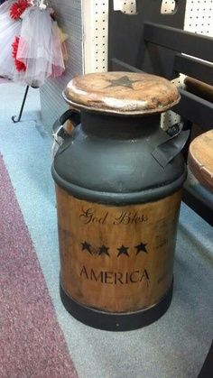 God bless America milk jug