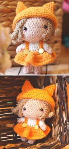 """The Best Cute Crochet Doll Amigurumi Ideas.Tiny amigurumi dolls are super adorable. This one's name is Kitsune, which means """"a fox"""" in Japanese. The author was inspired by anime and the world of miniature characters, that are insanely cute. What's best about this pattern, is that it's so customizable and beginner friendly.   #freecrochetpattern #amigurumi #toy Doll Patterns, Sewing Patterns, Crochet Patterns, Love Crochet, Crochet Hooks, Japanese Fox, Fox Girl, Amigurumi Doll, To My Daughter"""