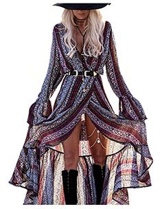 KESI Women Boho Beach Dress Floral Print Coverups Casual Maxi Long Wrap Dress GrayPurple  The clothes and accessories, all in good quality. The fashion clothing can be a good match with the sunglasses in our store.We trust, you will not regret to choose us. High-quality products to your own,or to your friends. If you have any questions, please feel free to contact us.As the angle and light when shooting, the color of the product and the picture color is slightly different, please und..