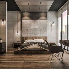 Follow our friend @highclass_homes ! - Industrial style for #bedroom 3d Render by Emanuel Viyantara - | © All credits correspond to photographer/designer/owner/creator |