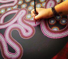 Dot-Art word in progress by Dutch artist Tessa Smits Dyi Painting, Easy Canvas Painting, Dot Art Painting, Mandala Painting, Pottery Painting, Painting Patterns, Encaustic Painting, Aboriginal Art Australian, Aboriginal Dot Painting