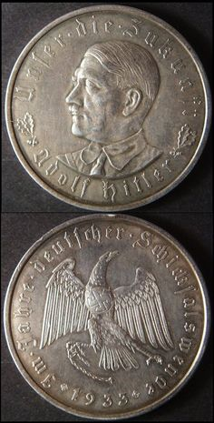 "Vintage 1933 Pre-WWII Germany Hitler Medal Coin, 1-3/8"", uncirculated"