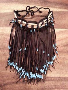 Native American dark brown leather fringed choker