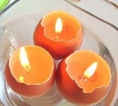 DIY eco friendly eggshell candles