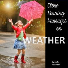 Close reading is the reading and re-reading of text to gather meaning and determine the author's purpose.  These are crucial concepts for growing readers.  This close reading, non-fiction product focuses on various types of weather:-lightning-rain-snow-hail-tornado-rainbowEach reading passage includes a reading response page and vocabulary pageOpen ended questions, questioning to support text, vocabulary word review and definition pages, webs, identifying key elements and key features of…