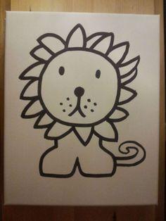 Leeuw nijntje, lion miffy, Afbeelding op A4 geprint en overgetrokken met een watervaste stift op canvas. Daarna de lijnen extra duidelijk zwart gemaakt. Canvas voor babykamer.