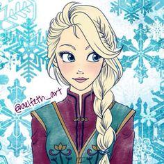 Elsa in her coronation dress hair braided
