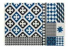 Scopri Tappeto Kilim Palermo -/ 240 x 170 cm, Blu di Gan, Made In Design Italia