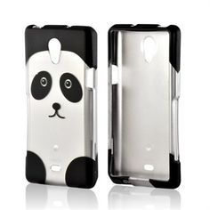 Silver/ Black Panda Rubberized Hard Case for Sony Xperia TL