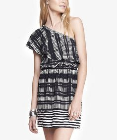 Another great find on #zulily! Black & White Abstract Ruffle Asymmetrical Dress #zulilyfinds