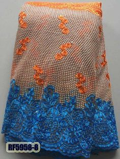 Latest orange+baby blue Lace polyester african french lace fabric high quality 2017 With Stone Nigerian Wedding lace