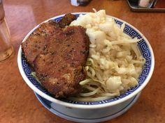 雷神角ふじ ふじそば 中盛り サービス 野菜、油増し 豚2枚¥750、¥180