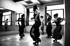 Flamenco Class at Amor de Dios School in Madrid. Spain