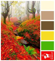 Red Forest - Red, green, Yellow, Brown, Beige, Stone - Designcat Colour Inspiration Pallet