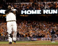 San Francisco Giants' Pablo Sandoval reacts at home after hitting his third home run of the game during the fifth inning of Game 1 of baseball's World Series against the Detroit Tigers Wednesday, Oct. 24, 2012, in San Francisco. (Photo: David J. Phillip / AP)