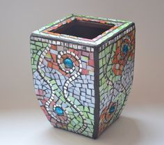 Mosaic Swirl Vase---Orange, Green, White, Black. Summer colors, wedding gift, housewarming gift.