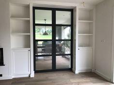 Living Room Partition Design, Room Partition Designs, Living Room Kitchen, Home Living Room, Double Sliding Barn Doors, Glass Room, House Design, Decoration, Interior