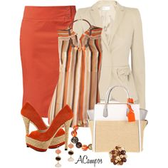 Orange & Beige, created by anna-campos on Polyvore