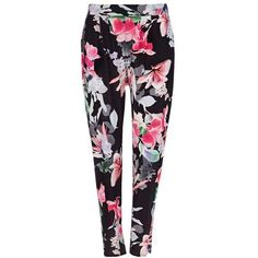 Petite Black Floral Trouser (50 CAD) ❤ liked on Polyvore featuring pants, floral pants, floral trousers, flower print pants, petite pants and floral printed pants