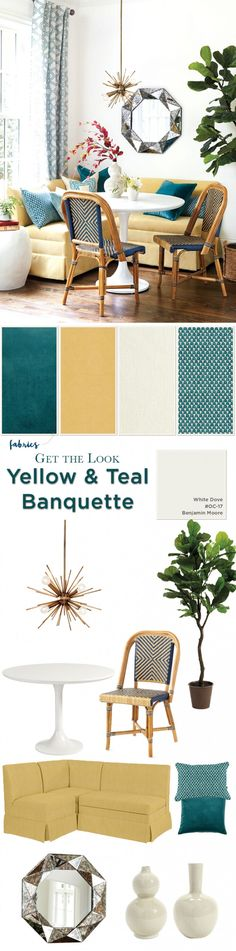 Get the look of this breakfast nook in yellow and teal