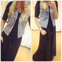 DIY denim vest and maxi skirt, fall style