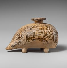 Terracotta aryballos (perfume vase) in the form of a hedgehog - Period: Archaic, mid-6th century B.C. - Culture: Rhodian
