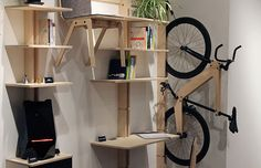 Living in a shoebox | Hang your desk, chairs and bicycle on the wall with this clever flatpack shelving system