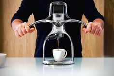 For those who are conscious about their electric bill, but still want to brew coffee anytime of day comes the non-electric ROK espresso machine.